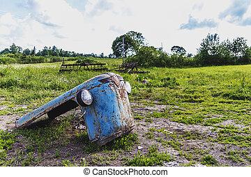 motor, gammal, traktor, huv