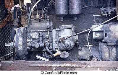 motor, gammal, traktor
