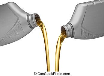 motor, gieten, olie
