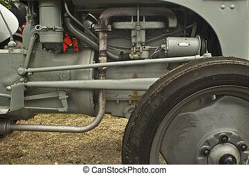 motor, grå, traktor