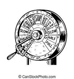 motor, grabado, vector, orden, telégrafo