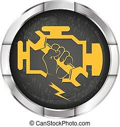 motor, herstelling, symbool