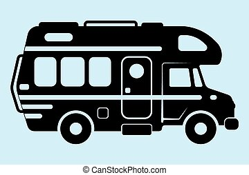 Motor Home - Vector illustration silhouette, a caravan and a...