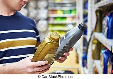 motor, homem, óleo, supermercado, escolhas