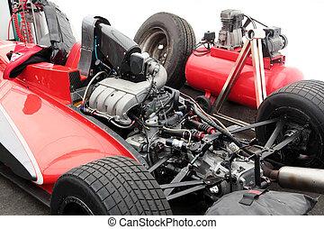 motor, i, en, racing, væddeløb vogn