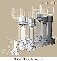 motor, i, vektor, skitse