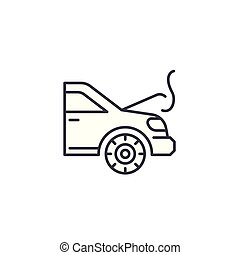 motor, illustration., sinal, concept., símbolo, vetorial, sobreaquecer, linha, ícone, linear