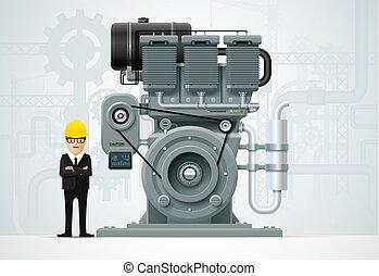 motor, industrial, fábrica, equipamento, engenharia, maquinaria construção