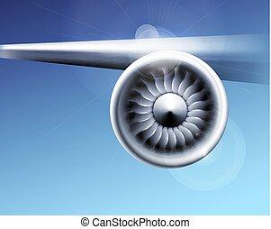 motor, industry., close-up, straalvliegtuig, motion., illustratie, blauwe , vliegtuig, vector, ventilator, achtergrond, turbine, bladen, vliegtuig, circulaire