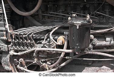 motor, inre, gammal, traktor