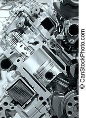 motor, interno, detalles, combustión
