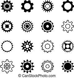 motor, jogo, engrenagem, ícones, transmissão, gearshift, vetorial, roda