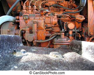 motor, krypare, gammal, traktor, italiensk