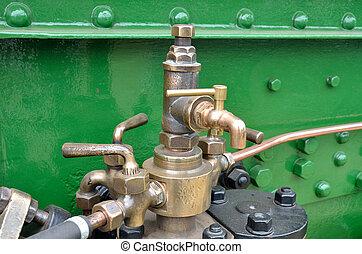 motor, latón, golpecito, detalle, vapor