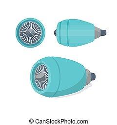 motor, lejlighed, illustration., set., flyvemaskine, turbine...