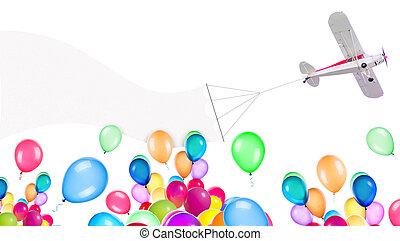 motor, luftballone, ledig, eben, banner