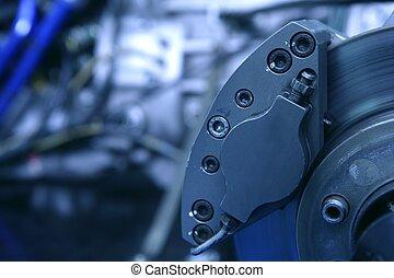motor, makro, skiva, specificera, bromsar