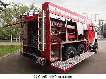 motor, mangueiras, fogo, grande, dentro, lado, galos, equipado, dia, vermelho, vista