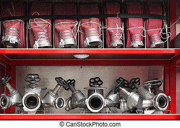 motor, mangueiras, fogo, grande, exato, organizado, galos, dentro, vermelho