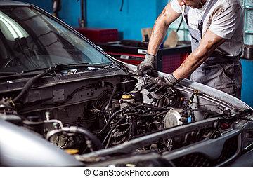 motor, mecânico carro, manter