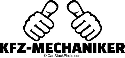 Motor mechanic with thumbs. German T-Shirt design.