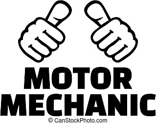 Motor mechanic with thumbs. T-Shirt design.