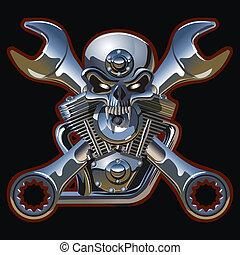 motor, metall, totenschädel