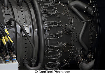 motor, moderno, avión, combustible, línea,  turbofan