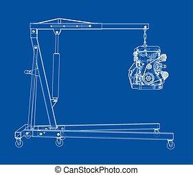 motor, montacargas, contorno
