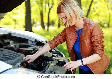 motor, mulher, dela, verificar, car, loiro