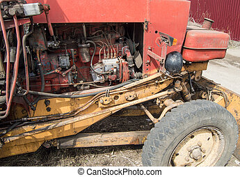 motor, närbild, gammal, diesel, särar, smutsa ner, traktor