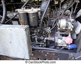 motor, närbild, gammal, traktor