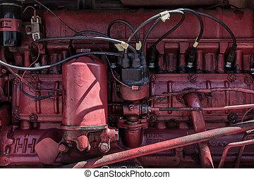 motor, närbild, röd traktor