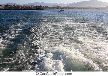 motor, navio, formado, mar, ondas