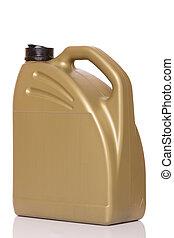 Motor oil canister - Golden motor oil canister. Isolated on...