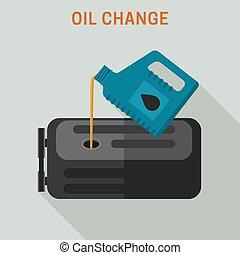 Motor oil change. Vector flat banner of maintenance.