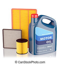Motor oil filters and plastic canister