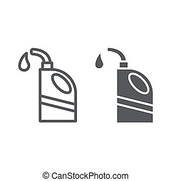 Motor oil line and glyph icon, auto and repair, oil canister sign, vector graphics, a linear pattern on a white background.