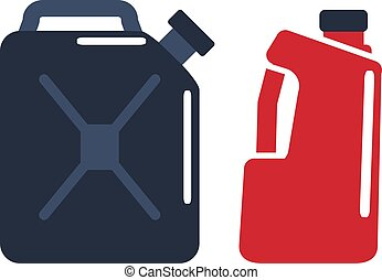 Motor oils and gassoline blank jerrycan canister icon in flat style. Vector simple illustration of different canisters with engine oil isolated on white background.