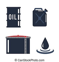 Motor oils blank jerrycan canister icon in flat style. Vector simple illustration of different canisters with engine oil isolated on white background.
