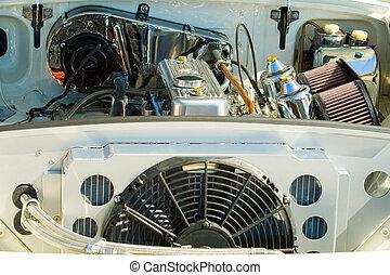 motor, ouderwetse , detail, auto