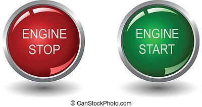 motor, parada, e, início, teia, botões