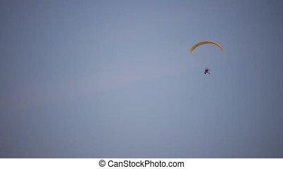Motor Paraglider in Winter - Motor Paraglider in Sky, Winter...