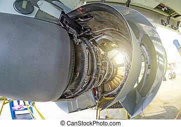motor, pesado, avião, maintenance., sob