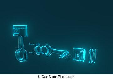 motor, pistão, rings., rendering., 3d