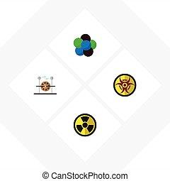 motor, plat, set, elements., gevaar, proton, studeren, nucleair, omvat, ook, vector, elektrisch, objects., anderen, pictogram