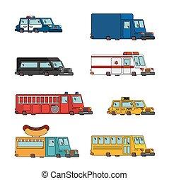 motor, polícia, taxi., fogo, car, set., alimento, vetorial, carro., ilustração, ambulância, truck., caricatura
