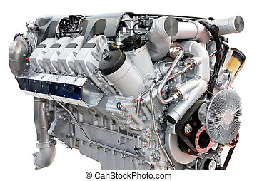 motor, prata, caminhões