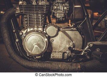 motor, primer plano, cafe-racer, motocicleta