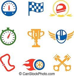 Motor race formula icons set. Speedometer, helmet and cup,...